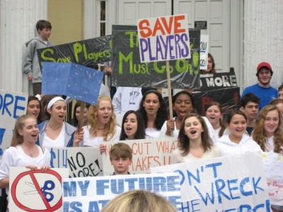 Students Rally Against Budget Cuts at Town Hall
