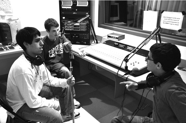 DJ SIxsmith '11 (left), Eric Galanty '11 (center), and Michael Nussbaum '11 (right) on the air. They are part of the John Drury Award nominated Staples radio station WWPT.