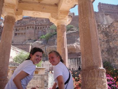Sophie Gordon and Philippa Nicklin sit at the Mehrangarh fort. |Photograph by Philipa Nicklin