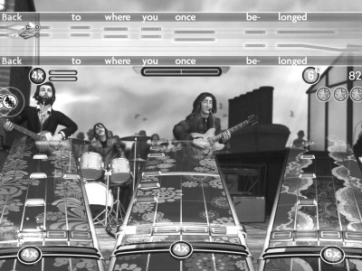 A screenshot of the game itself showing the image on the screen as the player touches and changes the keys on the guitar. | Graphic by Andrew Bowles '13