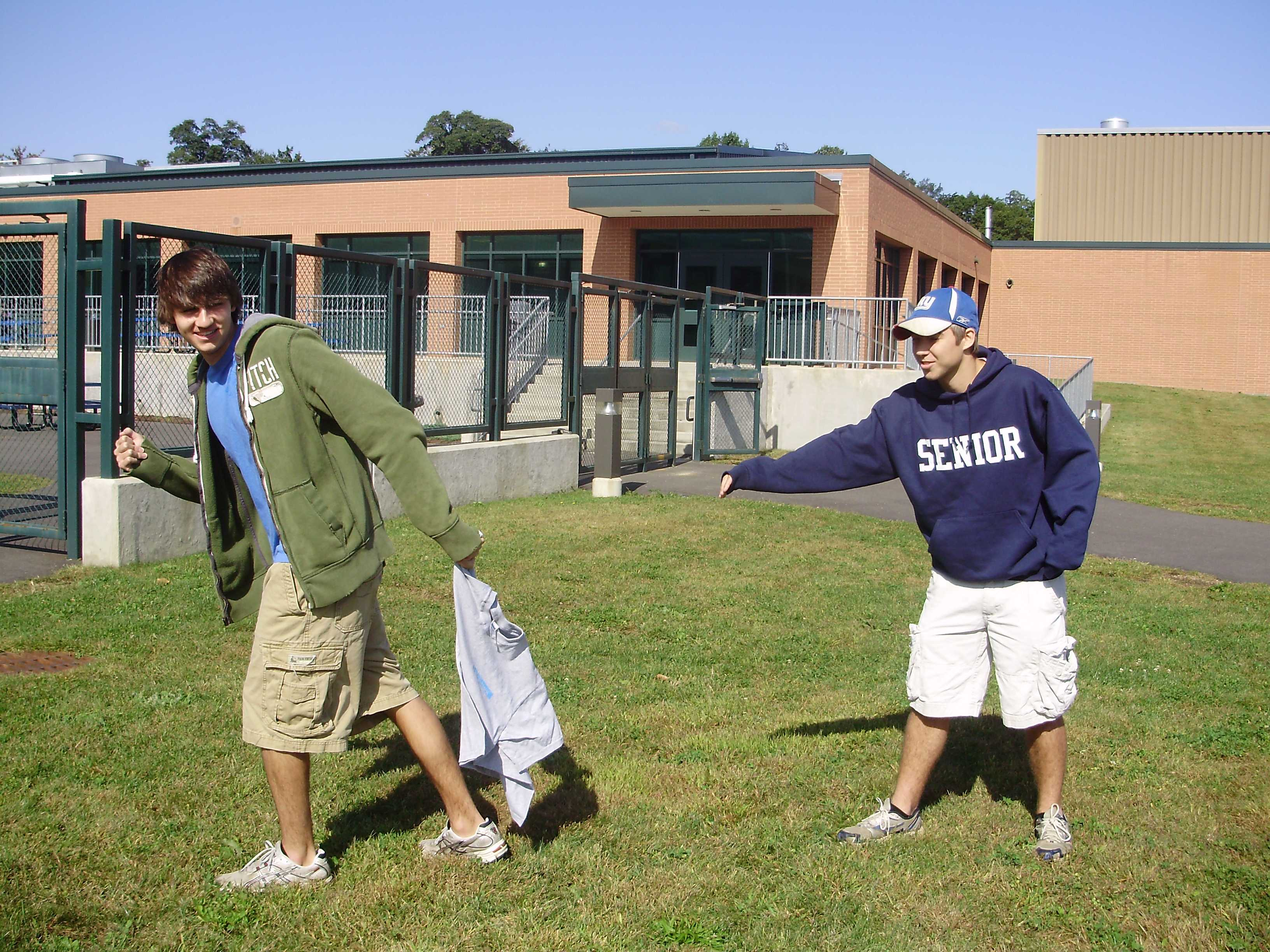 Ryan Smith '10 (left) stimulates an aggressive move in the game with Alex Werner '10. | Photo by Lila Epstein '10