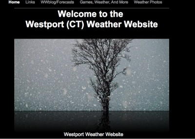 The front page of Meisel's weather-predicting website.