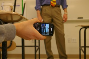 Students find different ways to record teachers during classes. | Photo by Rachel Guetta '13