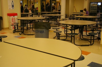 These cafeteria tables are spotless due to the
