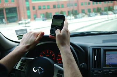 Increasingly teenagers are taking their eyes off the road to text, a distraction equivalent to driving with a blood alcohol level of .08 and a stronger distraction than using marijuana.   Photo by Ross Gordon '11