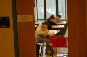 Above, sophomores hard at work on their CAPT testing. The final day of testing, which was scheduled for March 11, has been postponed by a week. |Photo by Cole Manley '11.