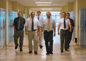 THEY OWN THESE HALLS: (from left to right) Eric Mongirdas, Jonathan Shepro, Jesse Bauks, Lenny Klein, Brian Scott and David Willick walk down a second floor hallway.