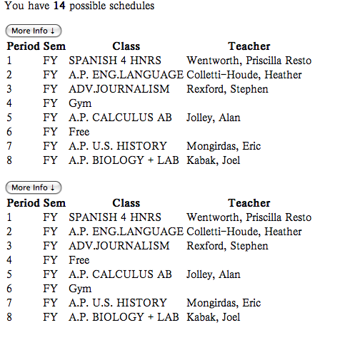 high school class schedule example