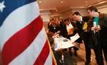 NEW YORK - OCTOBER 28:  Job seekers gather app...