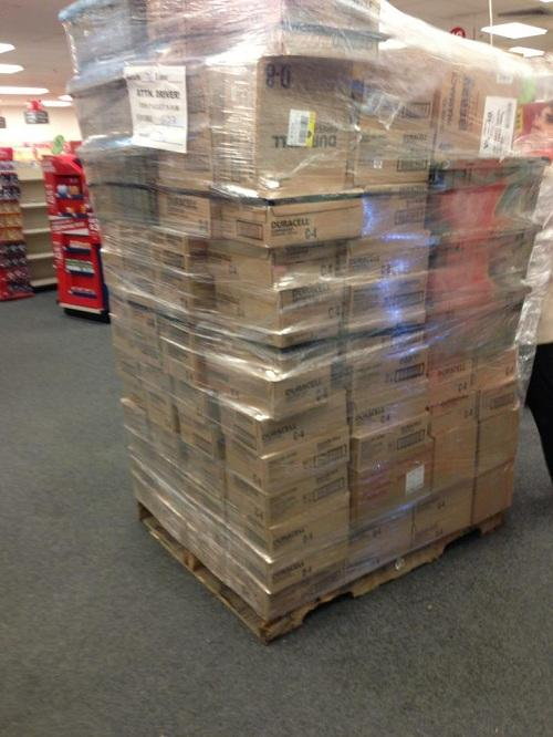 A new shipment of batteries arrives at CVS in Westport on Sun., Oct. 28, the day before Hurricane Sandy is expected to hit.