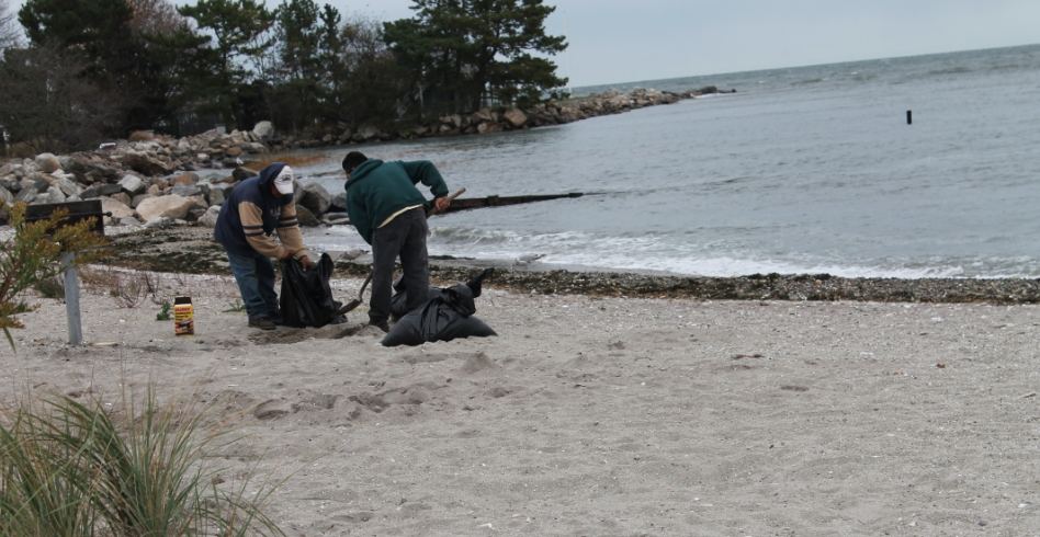 Last minute clean-ups are taking place along the coastline.