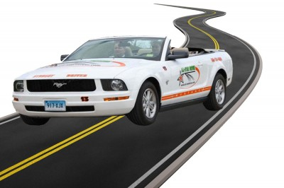 Students Practice with Driving Schools Mustang