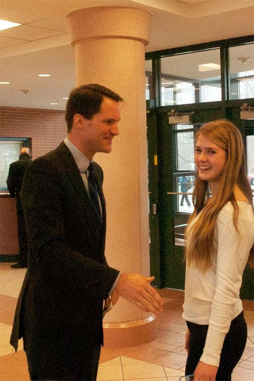 Congressman+Himes+greets+Gabriella+Rizack+%2713.+Himes+came+to+Staples+and+talked+to+A.P.+Government+students+on++Jan.+9.