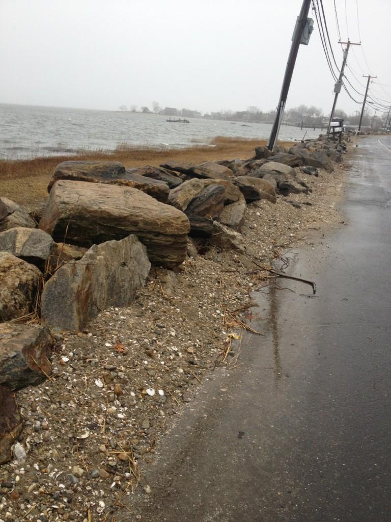 Sand and sea grass shows the remnants of the flood which affected coastal areas in Westport, Ct. on Wed., Feb. 27.