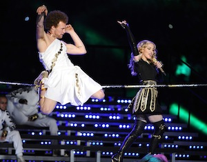 Madonna performs during the Super Bowl 2012.