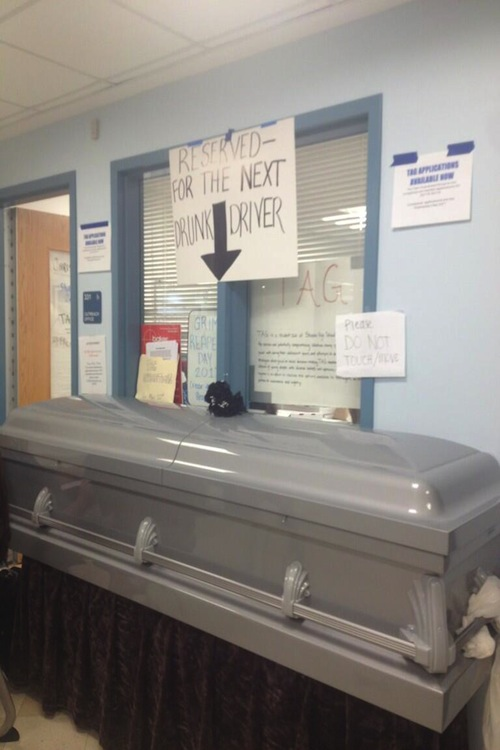 On Grim Reaper Day, TAG placed a coffin outside the cafeteria to show students the consequences of drunk driving.