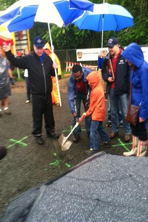 Jake Hockley, brother of Dylan Hockley to whom the playground is dedicated, breaks ground at Long Lots on Friday.