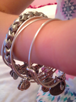 These Alex and Ani bracelets in the Russian Silver finish can be stacked up to create a more dramatic look. Each one has a different charm, but all of them represent an important meaning.