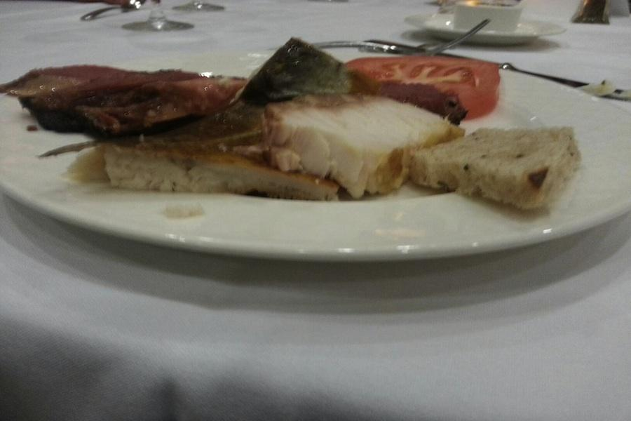 Aaron Hendel's plate after his second trip to the buffet during break fast.