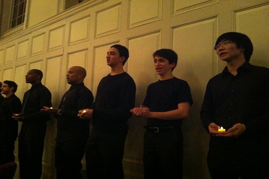 Orphenians+members+Thomas+Bonner+%E2%80%9814+and+Ian+Goodman+%E2%80%9815+sing+amidst+the+Norwalk+Community+College+Choir.