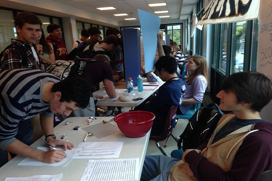 Students learn about and sign up for various clubs at Staples during club rush.