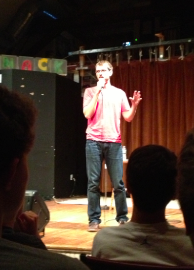 Ryan Conner jokes around at Toquet Hall on Friday night.