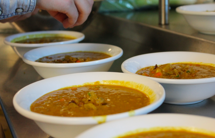 "Lentils: ""Lentils are a great legume and when stewed they are very earthy and comforting,"" said Cecilia Kiker '14. On top of the soup, Kiker daintily drops pine nuts, golden raisins, and thyme, a trio of seasonal condiments."