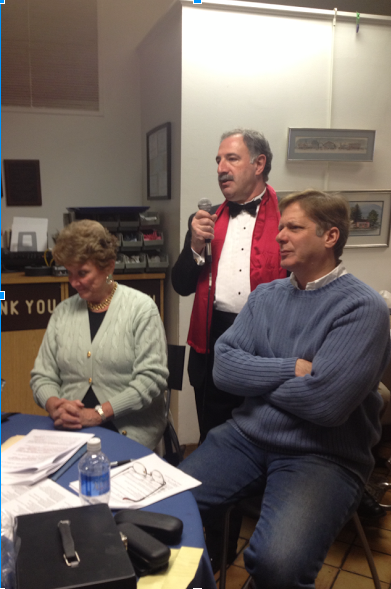 The hosts of the n'Oscars, (left to right) Susan Granger, Jonathan Steinberg, and Scott Bryce address the crowd.