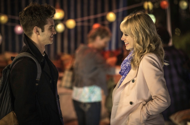"""Andrew Garfield, who plays Peter Parker/Spider-Man, and Emma Stone, who plays Gwen Stacey, in a scene from """"The Amazing Spider-Man 2""""."""
