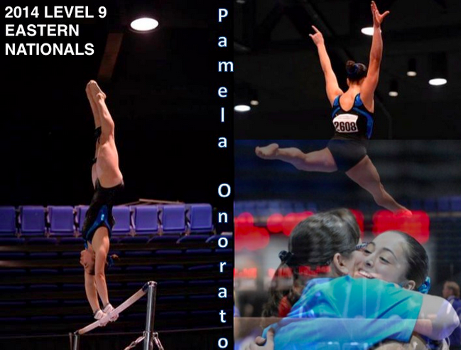 """""""Pam's bar routine was particularly exciting, as she maxed out each handstand, flirting with the edge of finding herself on the wrong side of the bar!"""" Coach Laurie DeFrancesco from Arena Gymnastics, said."""