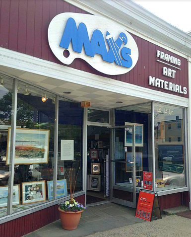 Max's Art Store allows artist from Staples High School and all the elementary schools to display their art in the storefront every spring.