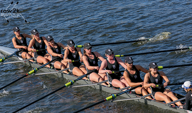 The women's youth eights boat from the Saugatuck Rowing Club competes in the Head of the Charles Regatta where they came in first place.