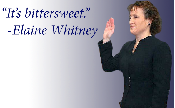 Shown above, Whitney is sworn in as a board member on Jan. 8, 2009. She was elected chairwoman in 2012.