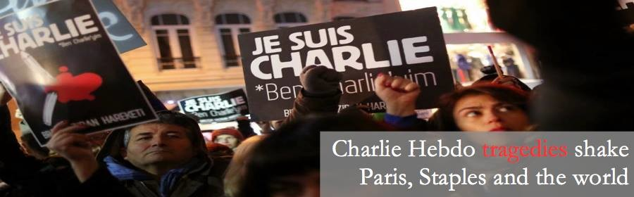 Charlie Hebdo tragedies shake Paris, Staples and the world