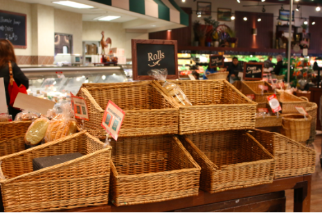Few rolls and variations of bread are left at Fresh Market.