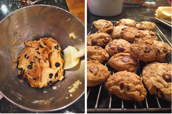 A perfect way to end a snow day. Homemade chocolate chip cookies baked to perfection.