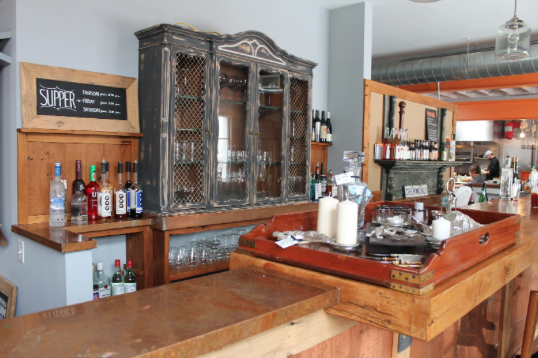 The bar -- which has a rustic feel to the otherwise modern restaurant -- is tidy and ready for the incoming flow of Saturday brunch-goers.
