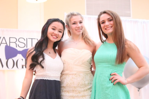 Olivia Consoli, Haley Burns, and Jesy Nelson '16 dress in bright colored dresses prior to their moment of fame on the catwalk.