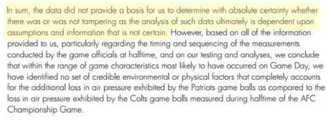 Text taken from the Wells report stating that the investigators are not certain that the footballs were tampered with.