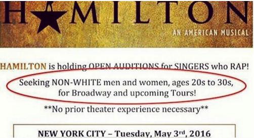 Hamilton's casting call provokes calls of reverse discrimination