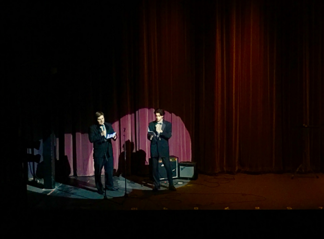 Hosts Nick Ribolla '16 and Jimmy Ray Stagg '16 present the opening act of the Variety Show.