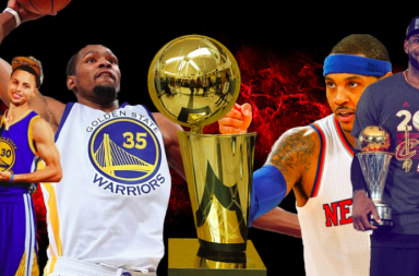 NBA stars eye the Larry O'Brien Trophy.