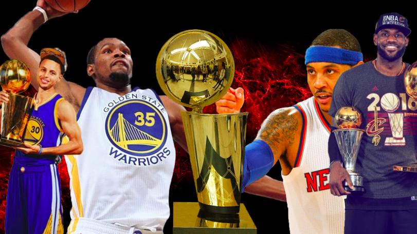NBA stars eye the Larry O'Brien Trophy.