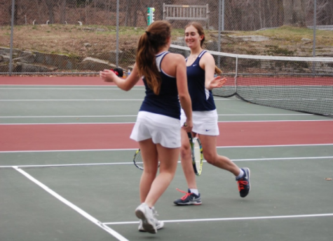 Picture credits: staplesgirlstennis.com Juniors Gabriela Vega and Hannah Bjorkman celebrate after scoring against Greenwich.