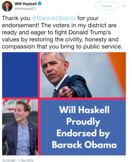 Former President Barack Obama endorses Will Haskell