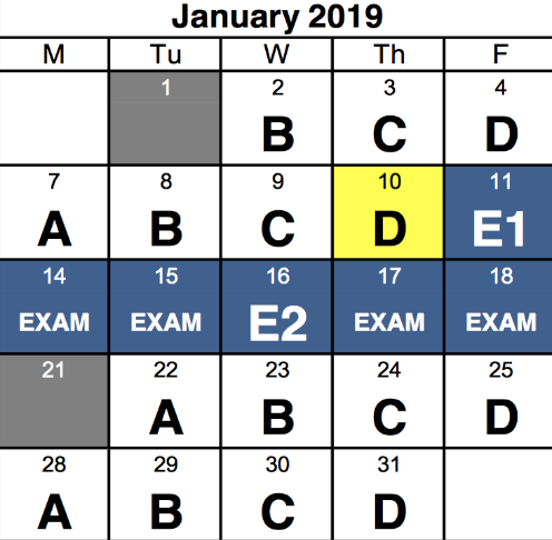 Staples' newly implemented exam schedule where E1 and E2 represent the review days