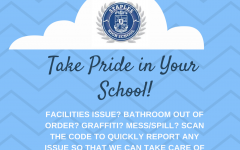 Student Assembly posts flyers in bathrooms to report vandalism and damage.