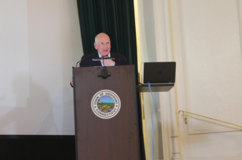 Earlier last year, First Selectman Jim Marpe spoke during the State of the Town Meeting on Feb. 10, expressing positivity in the overall condition of town and schools.