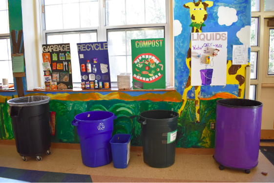 The four stations set up at Greens Farm Elementary of garbage, recycle, compost and liquids will enable the students to be more mindful of their waste after lunch time and even in their lives at home.