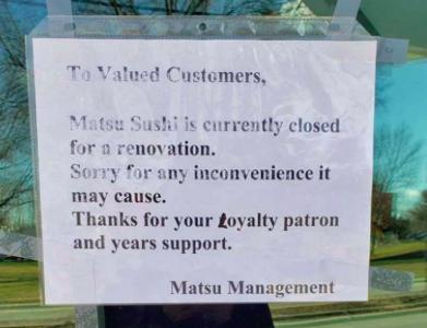 Matsu Sushi undergoes renovations